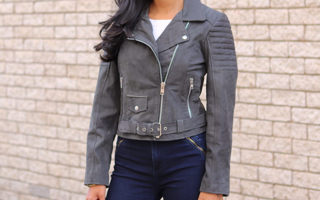 Women's Double Rider Leather Jacket – Charcoal